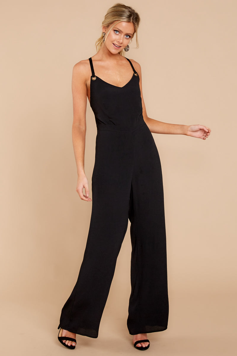 3 Only Up From Here Black Jumpsuit at reddressboutique.com