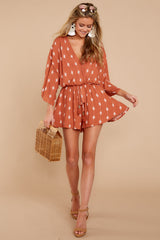 2 Perfect Impression Rust Orange Print Romper at reddressboutique.com