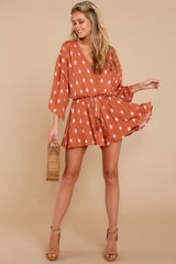 1 Perfect Impression Rust Orange Print Romper at reddressboutique.com