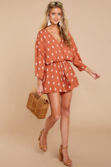 3 Perfect Impression Rust Orange Print Romper at reddressboutique.com