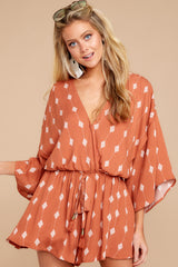 4 Perfect Impression Rust Orange Print Romper at reddressboutique.com