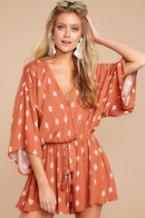 5 Perfect Impression Rust Orange Print Romper at reddressboutique.com