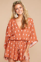 6 Perfect Impression Rust Orange Print Romper at reddressboutique.com