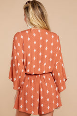 7 Perfect Impression Rust Orange Print Romper at reddressboutique.com