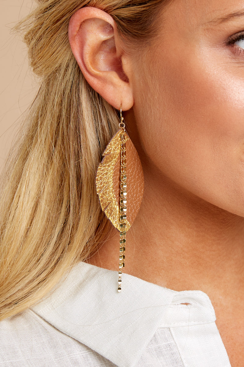 1 Tribe Trip Gold Earrings at reddressboutique.com