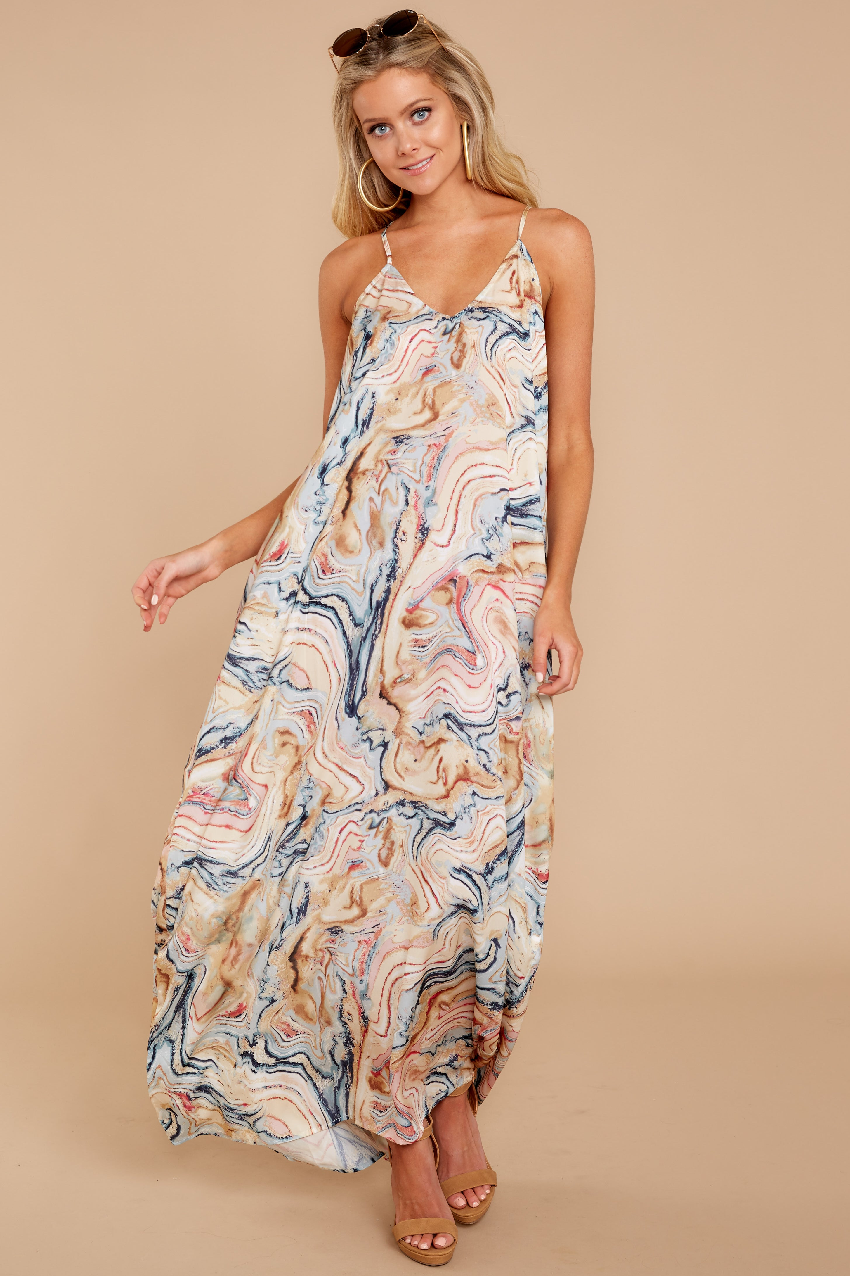1 Over Land And Sea Tan Multi Print Maxi Dress at reddressboutique.com