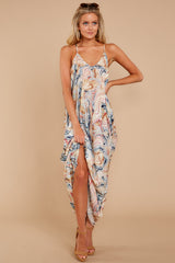 2 Over Land And Sea Tan Multi Print Maxi Dress at reddressboutique.com