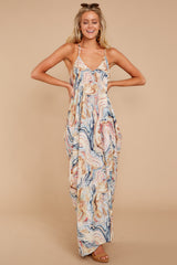 3 Over Land And Sea Tan Multi Print Maxi Dress at reddressboutique.com