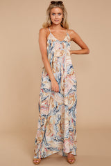 4 Over Land And Sea Tan Multi Print Maxi Dress at reddressboutique.com