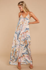 5 Over Land And Sea Tan Multi Print Maxi Dress at reddressboutique.com