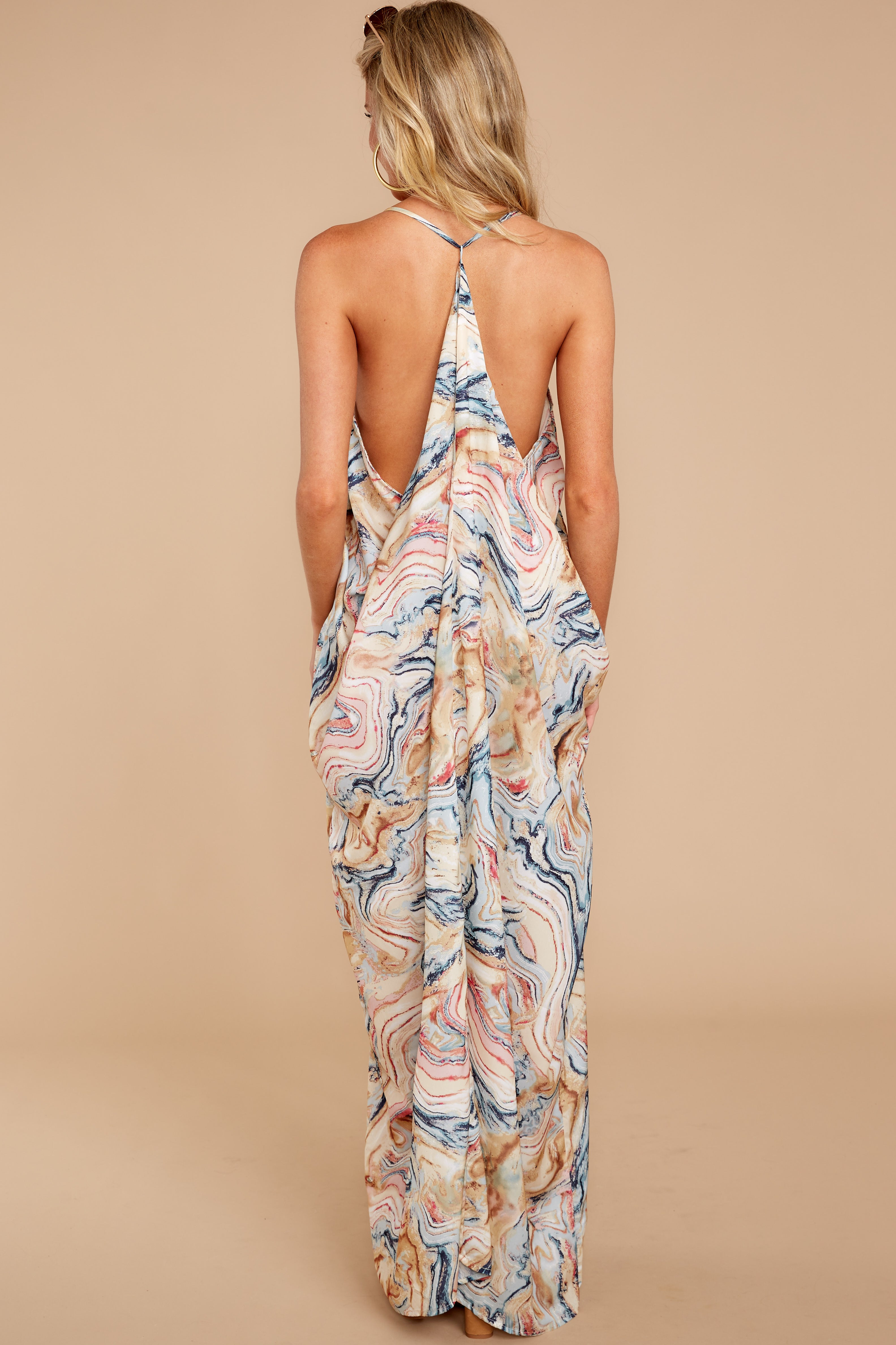 6 Over Land And Sea Tan Multi Print Maxi Dress at reddressboutique.com