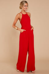 2 No More Games Red Jumpsuit at reddressboutique.com