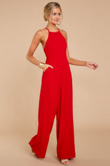 3 No More Games Red Jumpsuit at reddressboutique.com