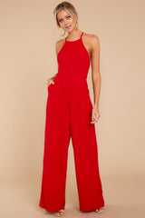 1 No More Games Red Jumpsuit at reddressboutique.com