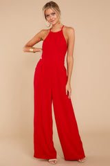 4 No More Games Red Jumpsuit at reddressboutique.com