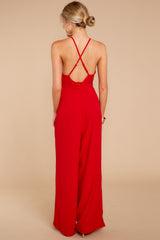 5 No More Games Red Jumpsuit at reddressboutique.com