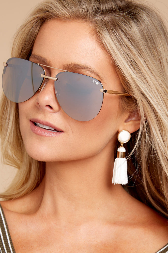 1 Undercover Gold Peach Sunglasses at reddressboutique.com