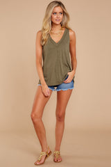 2 City Racerback Tank In Olive Night at reddressboutique.com