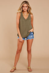 3 City Racerback Tank In Olive Night at reddressboutique.com