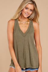 4 City Racerback Tank In Olive Night at reddressboutique.com