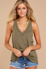 5 City Racerback Tank In Olive Night at reddressboutique.com