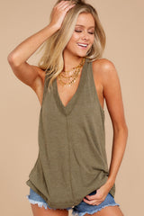 1 City Racerback Tank In Olive Night at reddressboutique.com