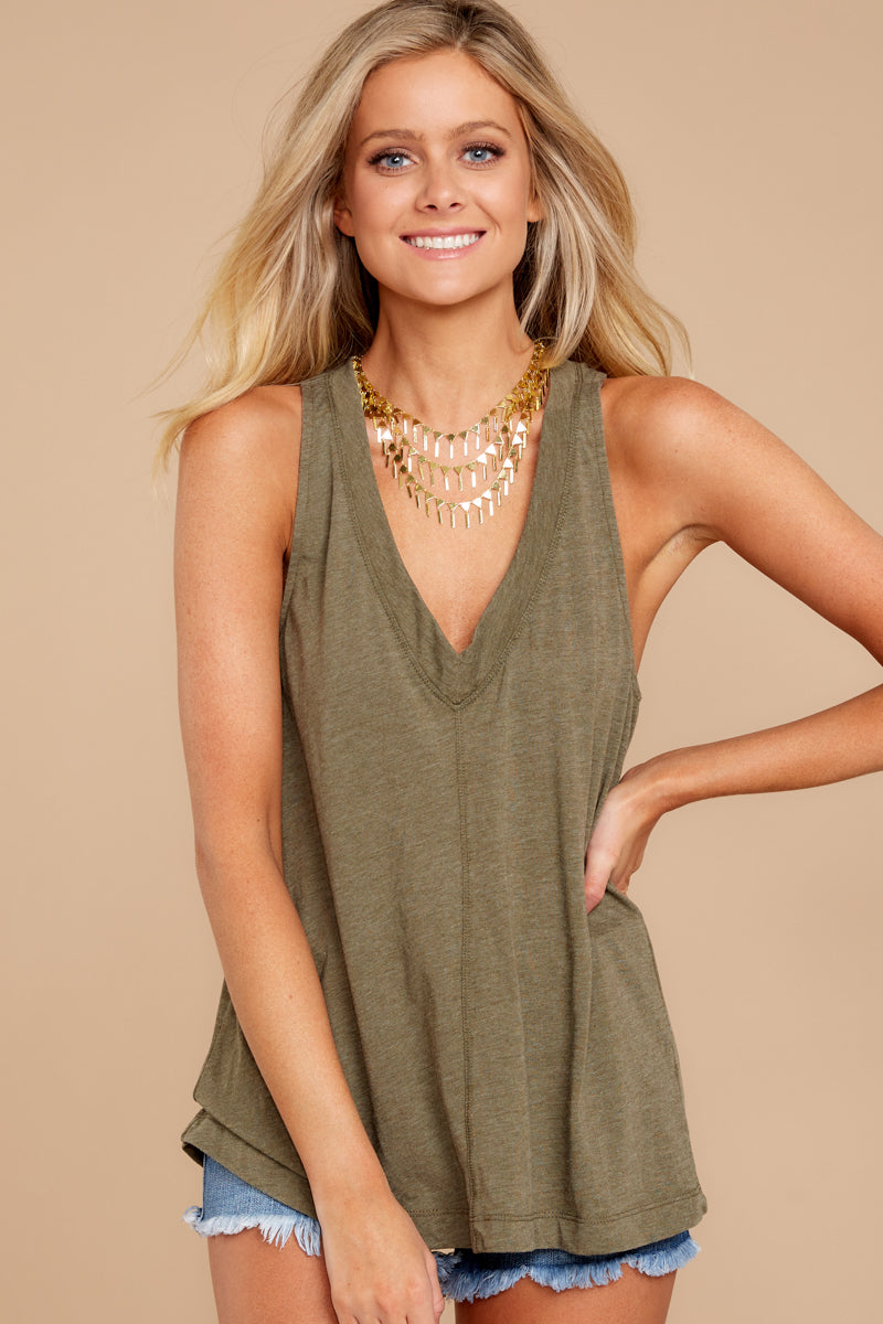 6 City Racerback Tank In Olive Night at reddressboutique.com