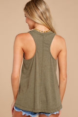7 City Racerback Tank In Olive Night at reddressboutique.com