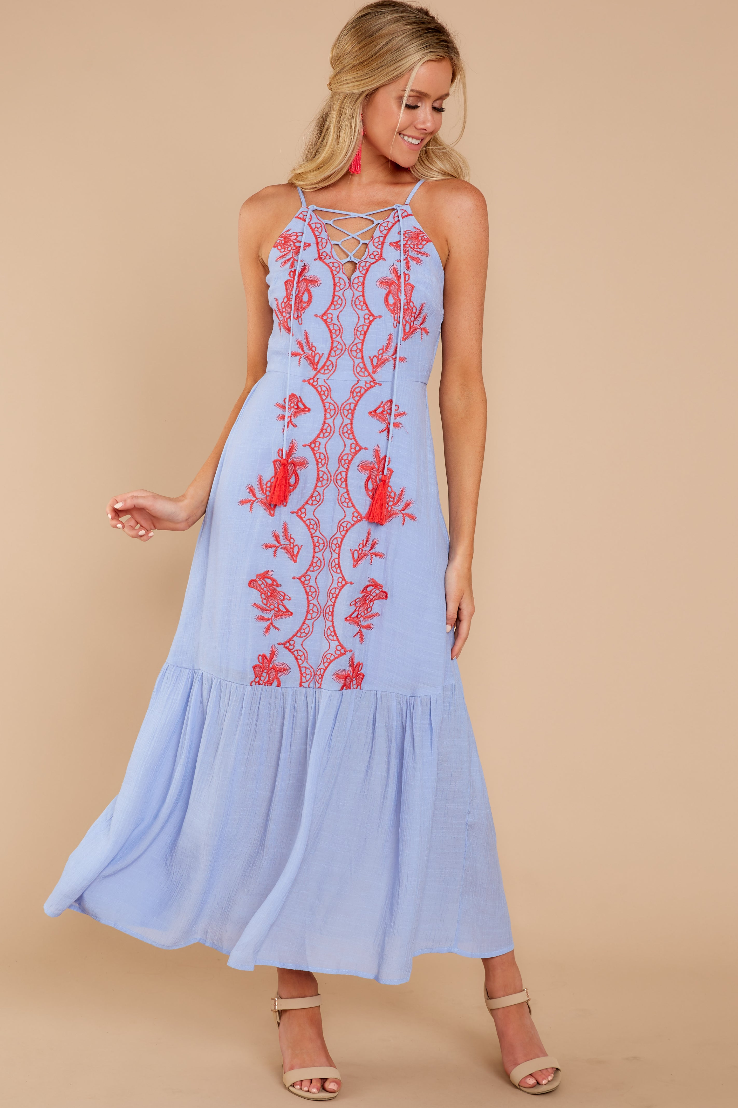 0d6315cab6b Chic Light Blue Embroidered Maxi Dress - Adorable Embroidered Dress ...