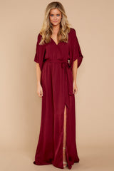 5 Can't Look Away Burgundy Maxi Dress at reddress.com