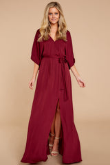 6 Can't Look Away Burgundy Maxi Dress at reddress.com