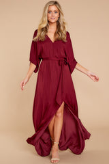 3 Can't Look Away Burgundy Maxi Dress at reddress.com
