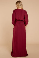 8 Can't Look Away Burgundy Maxi Dress at reddress.com