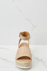 3 Know The Way To You Taupe Flatform Sandals at reddressboutique.com