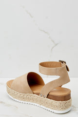 4 Know The Way To You Taupe Flatform Sandals at reddressboutique.com