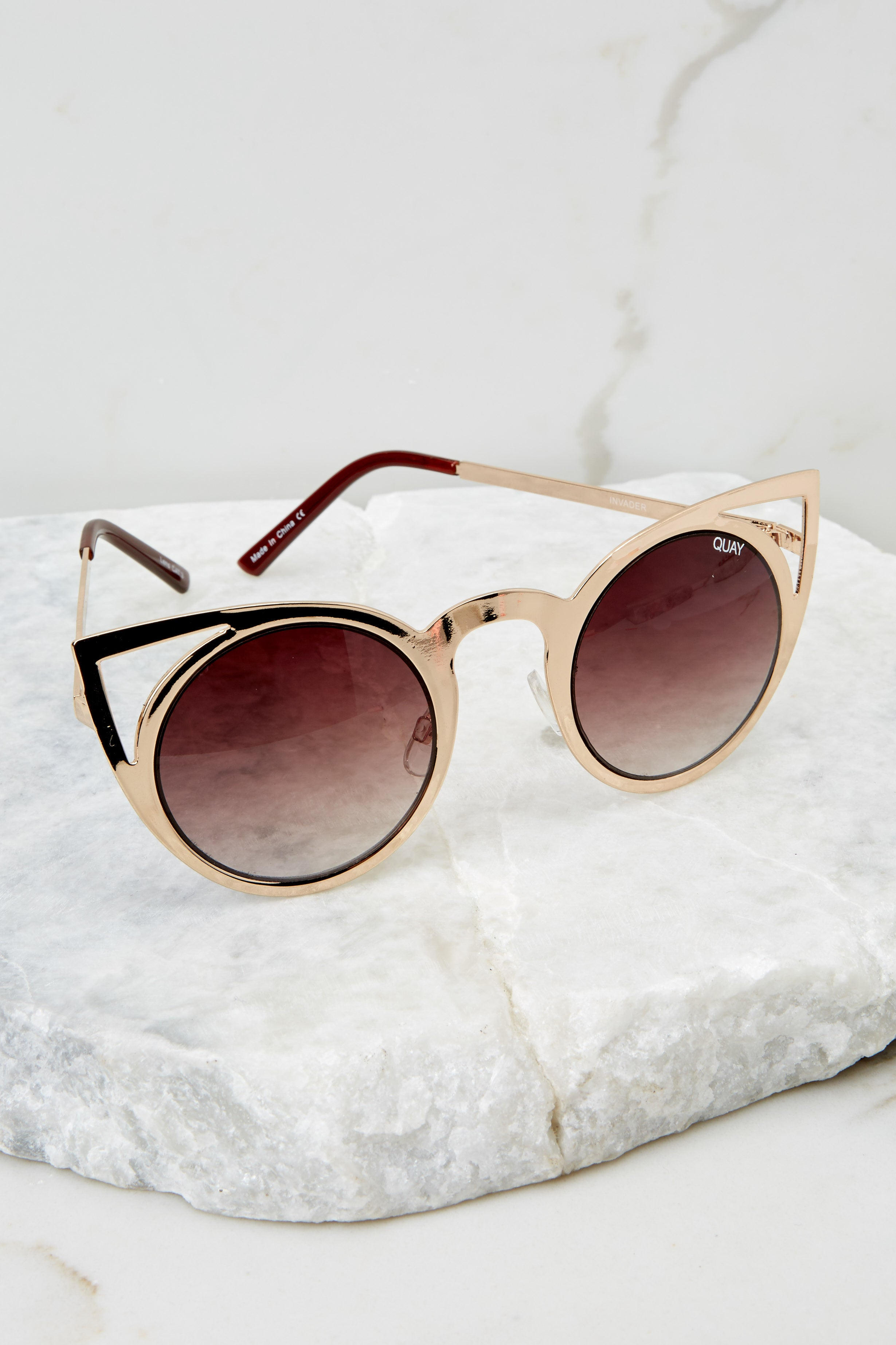 2 Invader Gold And Brown Sunglasses at reddressboutique.com
