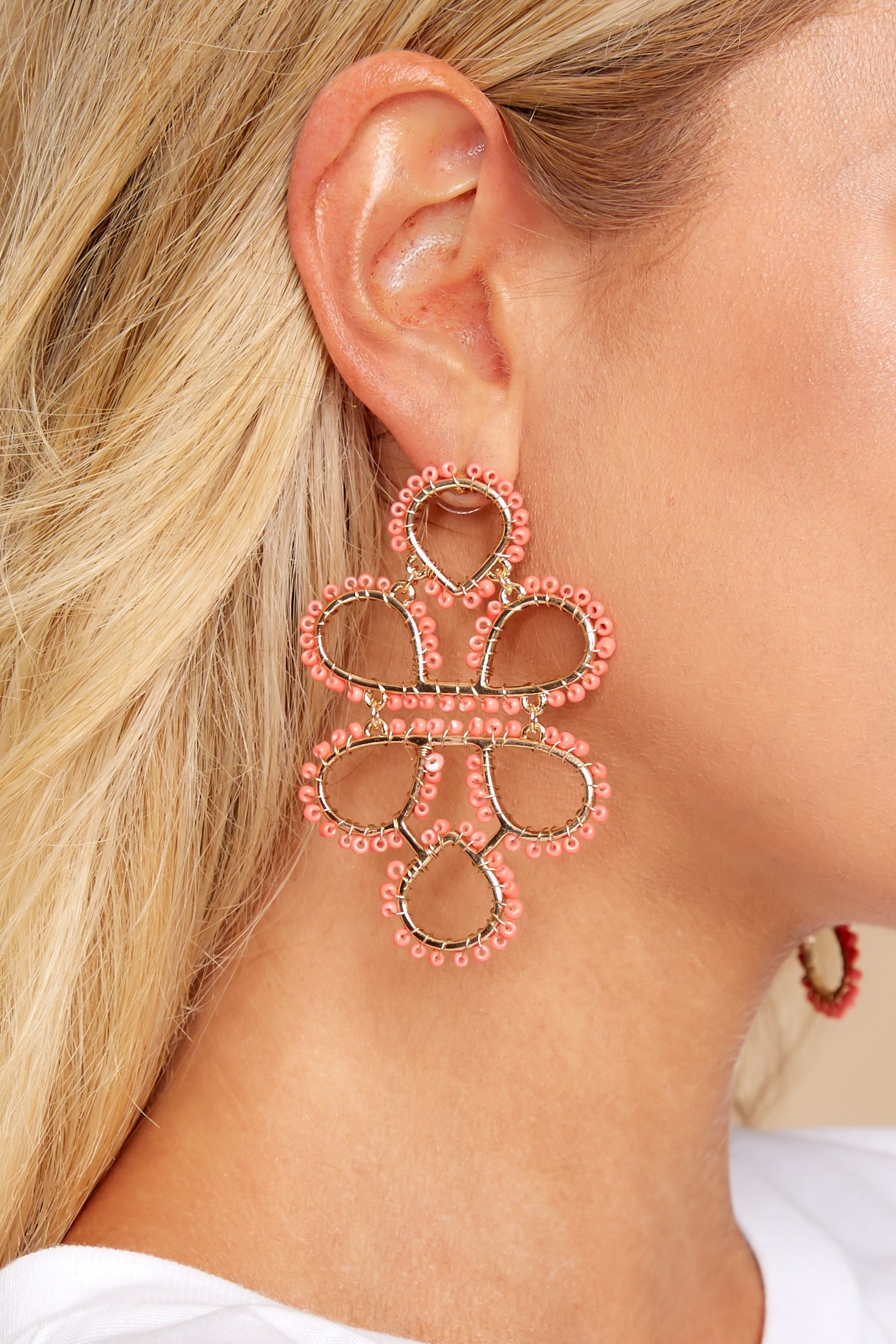 1 On Another Level Coral Earrings at reddressboutique.com