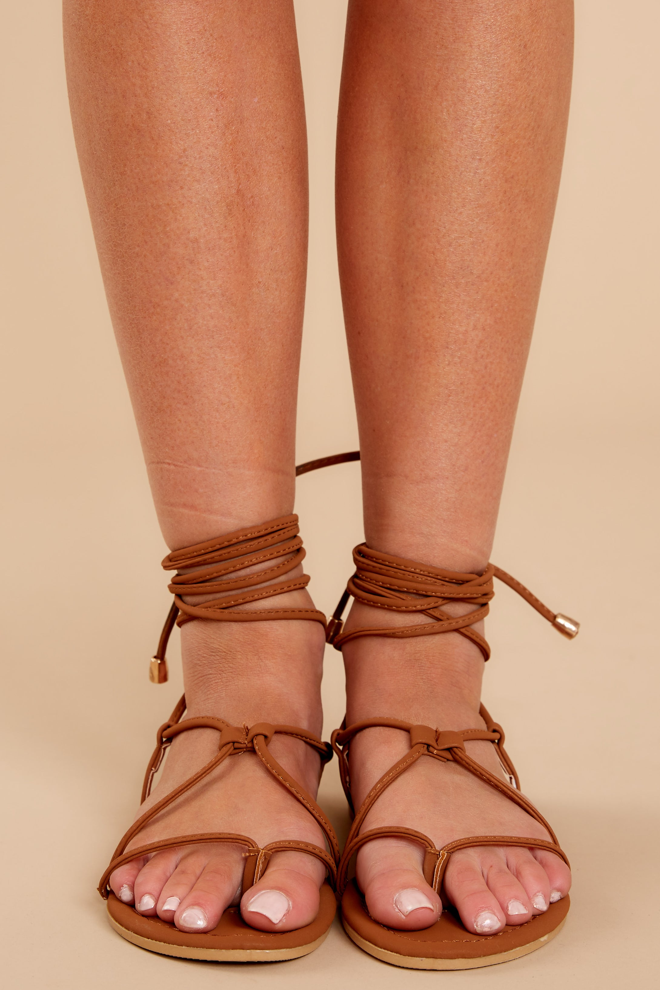 2  Take Me To Santorini Brown Lace Up Sandals at reddressboutique.com