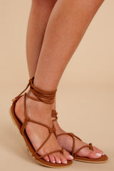 1 Take Me To Santorini Brown Lace Up Sandals at reddressboutique.com
