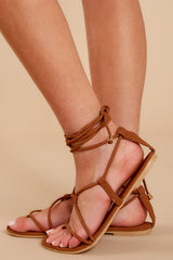 3  Take Me To Santorini Brown Lace Up Sandals at reddressboutique.com