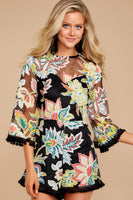 Hidden Back Zipper Illusion Darts Bell Sleeves General Print Frill Trim Round Neck Sweetheart Romper