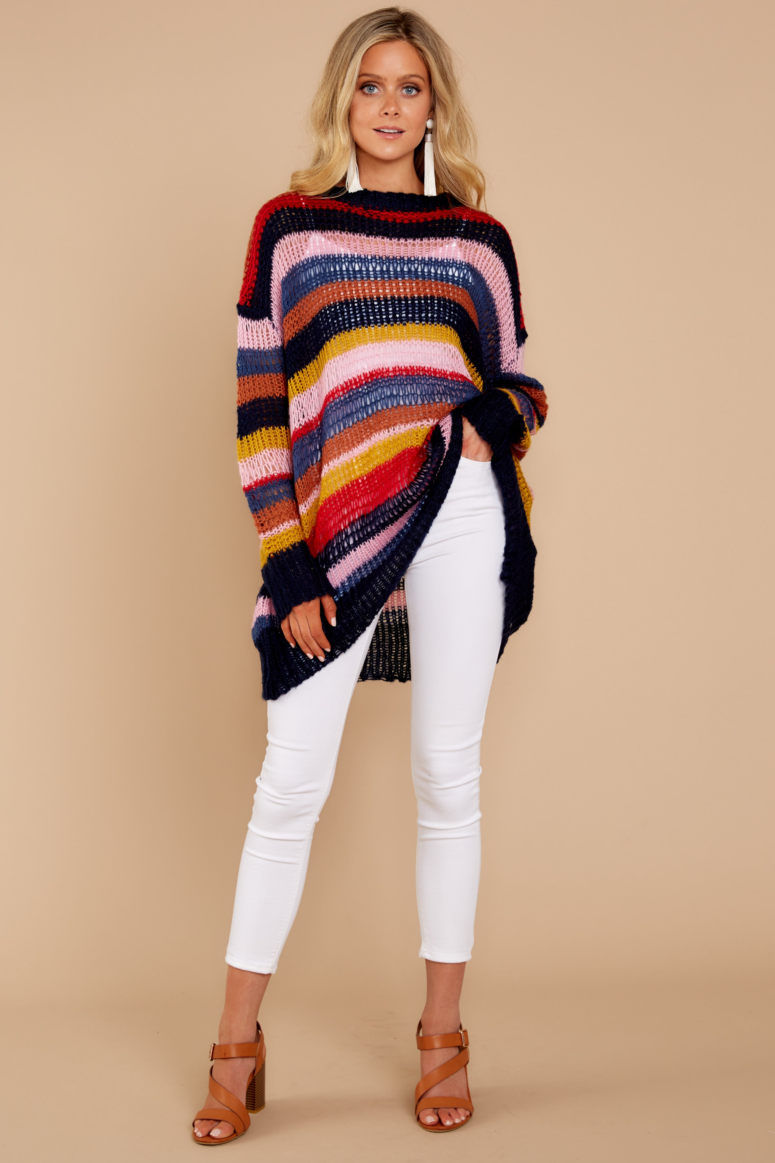 1 All This Time Pink Multi Sweater at reddressboutique.com