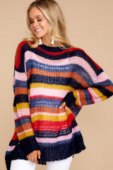 4 All This Time Pink Multi Sweater at reddressboutique.com
