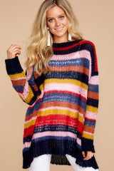 5 All This Time Pink Multi Sweater at reddressboutique.com