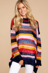 6 All This Time Pink Multi Sweater at reddressboutique.com