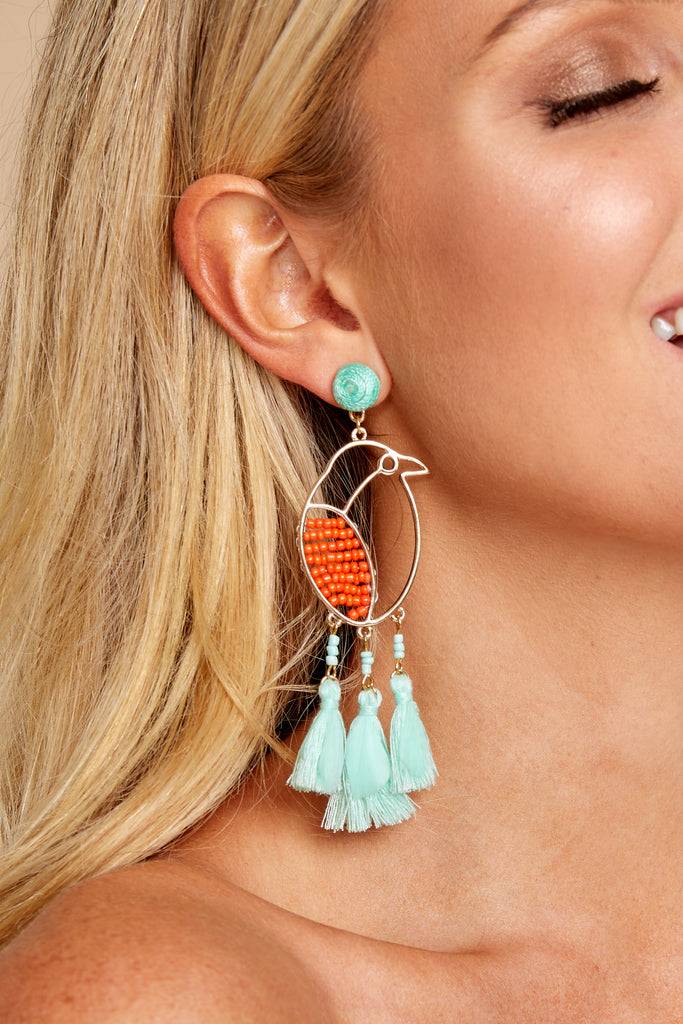 1 Over The Top Turquoise Statement Earrings at reddressboutique.com