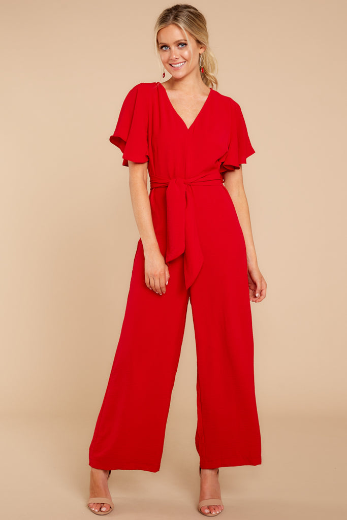 1 Good Landing Red Jumpsuit at reddressboutique.com