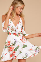 V-neck Cold Shoulder Sleeves Floral Tropical Print Racerback Polyester Dress With Ruffles
