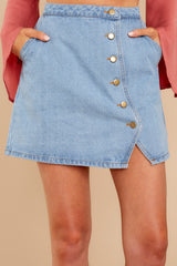 Knew You Were It Button Up Denim Skirt
