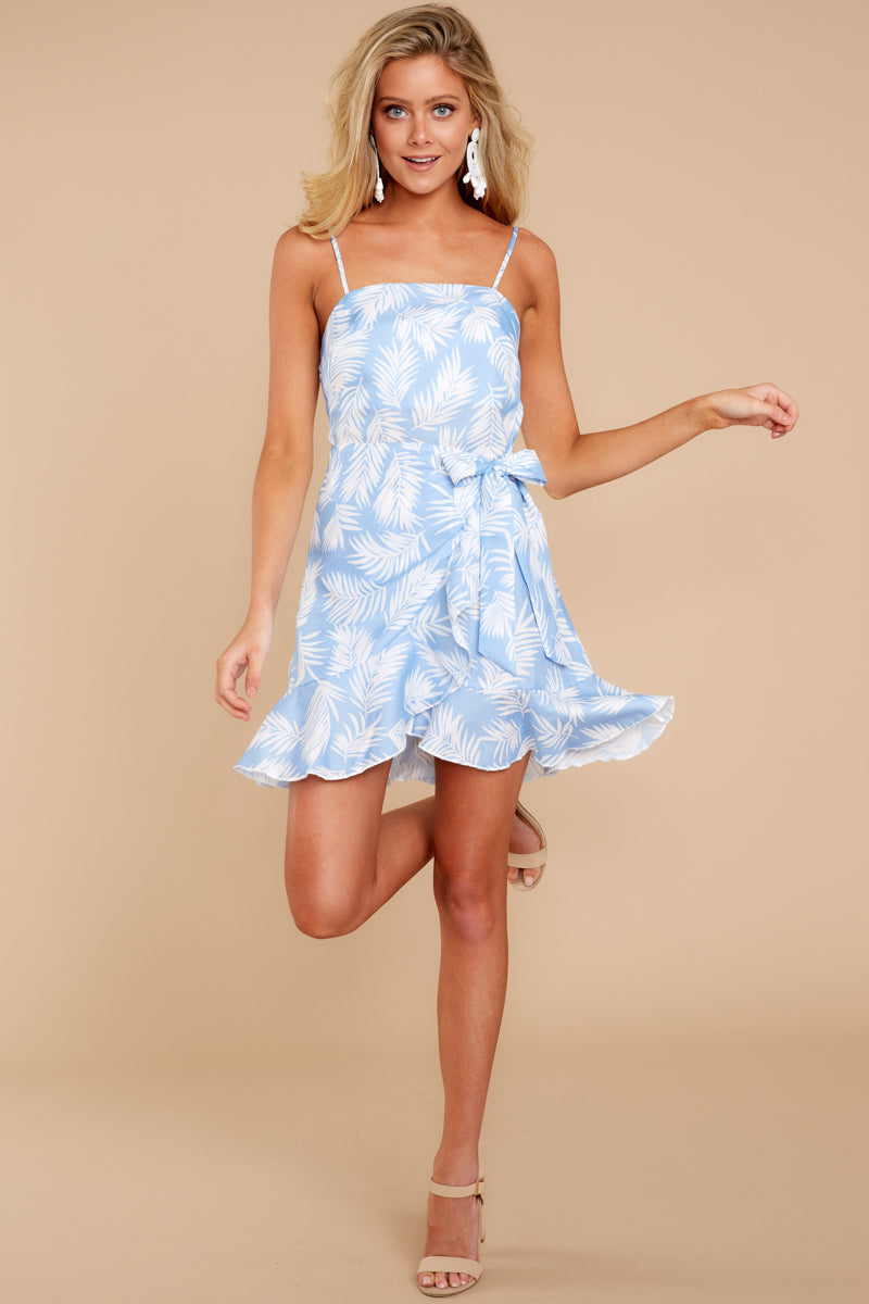 2 All That's Left Light Blue Tropical Print Dress at reddressboutique.com